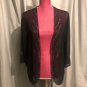 BKE Boutique Sheer Beaded Cardigan
